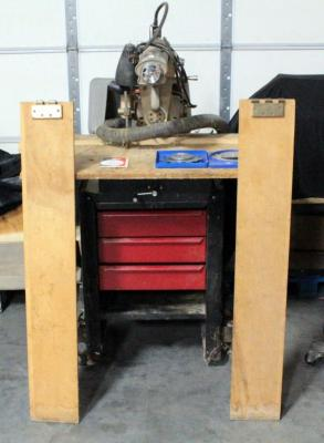Craftsman 1961 Radial Arm Saw On Wheeled Cart With 3 Drawers, Extension Attachments And Extra Blades, Powers On