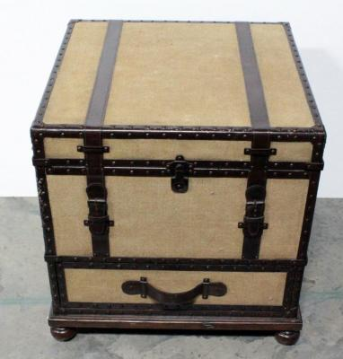 "Storage Trunk End Table, Upper Storage Area Has Compartmented Insert, Lower Drawer, Solid Wood, 24""W x 24.75""H x 24""D"