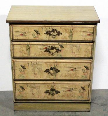 "Chest Of Drawers, 4 Drawers, Each Drawer Face Has Image Of Vintage Paris, 28""W x 35""H x 15""D"
