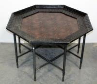 "Octagonal End Table, Textured Snake Skin Design 39""W x 24""H x 39""D"