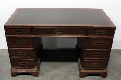 "Hekman Leather-top Desk, 1 Center Drawer And 6 Side Drawers (2 for Hanging Files) 51.25""W x 30.25""H x 26""D"