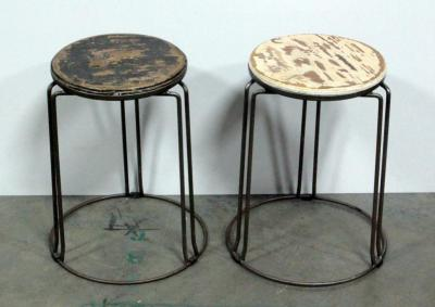 "Stool/Plant Stands, Metal Base Wood Tops 11"" Dia. x 18""H Qty 2"