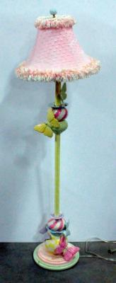"Butterfly And Ladybug Floor Lamp, Moriage China, 58.5""H, Powers On"
