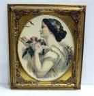 "Print of 1853 Painting Of Woman Holding A Pink Rose, Gilt Frame, 26""W x 30""H"