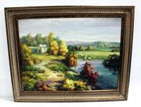 "Original Painting On Canvas Of Pastoral Scene With Sheep At A Pond, Framed 48""W x 38""H"