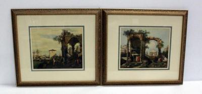 "Two Prints, Likely Francesco Guardi Images Of Venice In The 18th Century, Matted And Framed, Both 22.5""W x 20.5""H"