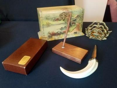 Antique Self Opening Stationary Box With Felt Lining And Horned Letter Opener With Hallmark Desk Set And Brass Letter Sorter