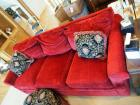 "Lazy Boy Upholstered Sofa, 36"" x 88"" x 39"" With Round Scalloped Foot Stool, 15"" x 30"" And Matching Throw Pillows"