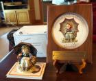 "Authentic M.J. Hummel Figurines, Collector Club Members, Exclusive Edition #9 ""Smiling Through"" With Members Personalized Plaque And Collectors Book"