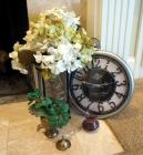 Indo-Swiss Clockworks Pocket Watch Wall Clock, Brass Bud Vase, Decorative Vase/Candle Holder With Floral Arrangement And More