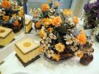Bathroom Vanity Tissue Box, Soap Dish, Liquid Soap Dispenser, Wicker Tray And Potted Floral Arrangement