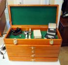 Solid Wood Felt Lined Jewelry Chest With 4 Drawers And Metal Brass Like Accents, Contents Not Included