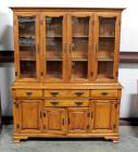 Young Republic Solid Wood China Cabinet, 4 Glass Door Hutch With 2 Wood Shelves, 4 Drawers, 3 Lower Storage Areas, Brass Pulls, Dovetail Construction