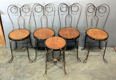 Cafe/Ice Cream Parlor Chairs And Stool With Wood Seats And Twisted Wire Legs And Backs, Total Qty 5, Matches Lot 32