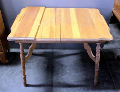 "Solid Wood Dining Table, Curved Moulded Edges, With Leaf, 30""W x 31.5""H x 41.5""D"