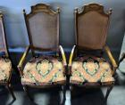 "Pair of Solid Wood Arm Chairs With Padded Seats And Ready-Woven Cane Backs, 22""W x 44""H x 18.5""D, Total Qty 2, Matches Lot 44"