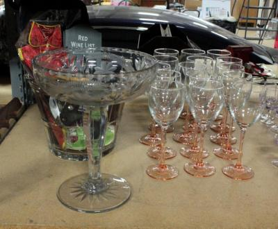"Stemware Marked France, Amber Tone, Qty 12, Cut Glass Candy Dish 10.5""H, Glass Ice Bucket With Wine Opener And Wine Accessories"