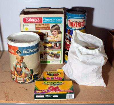 Vintage Toys Including Tinker Toys, Lincoln Logs, Playskool Building Blocks, Alphabet Blocks In Bag And Crayola Crayons