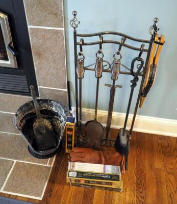 Fireplace Tools Ash Bucket, Gloves, Bellow, Matches And More