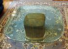 "Beveled Glass Pedestal Coffee Table, 16.5"" x 44"" x 44"""