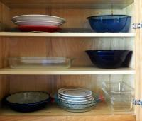 Pyrex Mixing Bowls, Pie Dishes, Bread Pns With Serving Platters And More Contents Of Cabinet