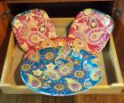 Melamine Paisley Plates And Platters, Total Qty 8