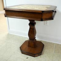 "Wood Pedestal Game Table, 31"" x 28"" x 28"" With Game Pieces And Coaster Rolling Swivel Chairs, Qty 2"