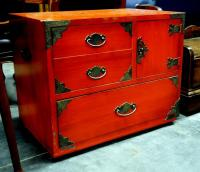 "Thomasville Trunk With 2 Drawers And Cubby With Door, Brass Accents And Side Handles 28""W x 22.75""H x 17.75""D"
