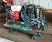 Rol-Air, Rolling, Duel Tank Air Compressor, Model #4090HK17, 5.5 HP With Honda GX160 Motor Includes Pneumatic Hose