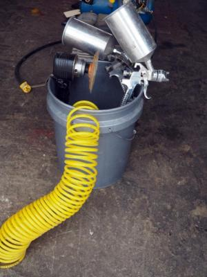 Pneumatic Spray Gun Model #H827W, Qty 2 With Sander, Pneumatic Hose And Sandpaper, Contents Of Bucket