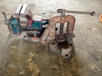 "American Scale Company 4"" Bench Vise And Vtg RIDGID B-y-2-a Bench Mount Yoke Type Pipe Vise"