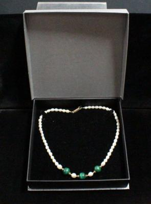Natural Pearl And Malachite Necklace With 10K Gold Clasp, 18""