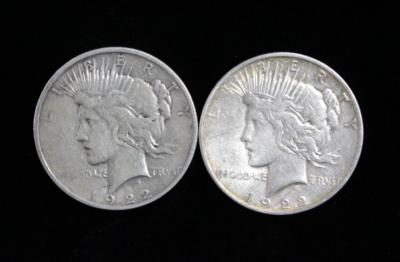 Silver Peace Dollar Coins, 1922 Qty 2