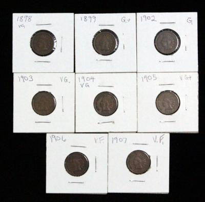 Indian Head One Cent Coins, 1898, 18990, 1902-1907, Total Qty 8