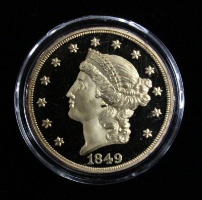 1849 Copy Gold Plated Proof, Twenty Dollar Gold Coin