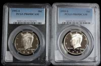 1992-S PCGS PR69DCAM And 1995-S PCGS PR69DCAM Kennedy Half Dollars, Total Qty 2