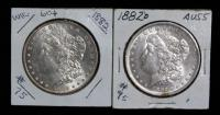 1882-O And 1882 Morgan Silver Dollars, Packages Marked Uncirculated, Total Qty 2