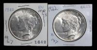 1922 Peace Silver Dollars, Total Qty 2