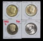 Kennedy Half Dollars, 1966 (2), 1990 And 2014, Some Gold Toned And One Proof, Total Qty 4