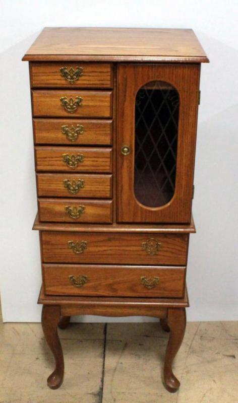 Lot 299free Standing Jewelry Armoire 5 Smaller Drawers 2 Large Drawers Flip Top With Mirror Cut Glass Door To Pull Out Hangers 19 W X 45 5