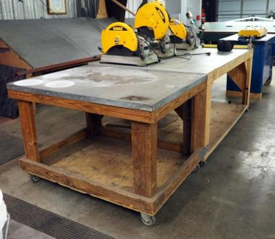 "Custom Made Rolling Shop Tables, 34"" x 72"" x 48"" And 34"" x 36"" x 48"", Bidder Responsible For Proper Removal, Tables Attached To Each Other"
