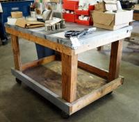 "Custom Made Rolling Shop Table, 32"" x 48"" x 36"", Contents Not Included"