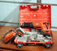 Hilti Cordless Reciprocating Saw Model #WSR18-A Includes 18 Volt Lithium Batteries Qty 2 Battery Charger And Carrying Case