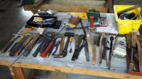 Hand Tools Assortment Including, Hammers, Drill Bits, Screw Drivers, Rathets, Saw Blades, Wire Brushes and More,Contents Of Table, Table Not Included