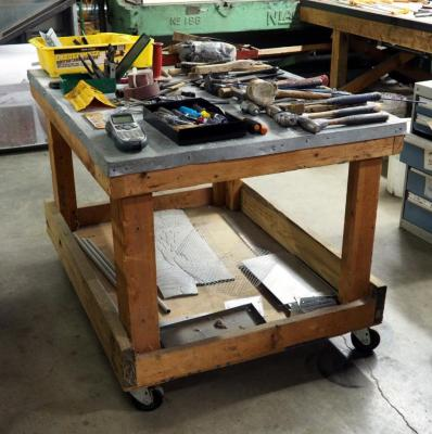 "Custom Rolling Shop Table, 33.5"" x 50"" x 36"""