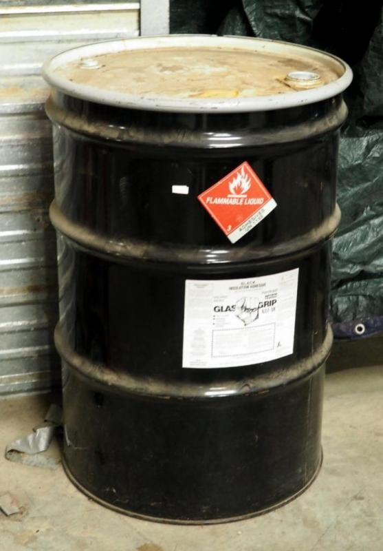 55 Gallon Drum Of Glass Gripo Black Insulation Adhesive HArd