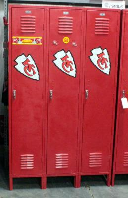 "Berger Lockers Single Tier, Set of 3, 45""W x 78""H x 18""D, Painted Red, Logos on Lockers are Magnets"