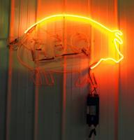 "Neon BBQ Pig Sign 25"" x 38"", Powers On But Needs Repair"