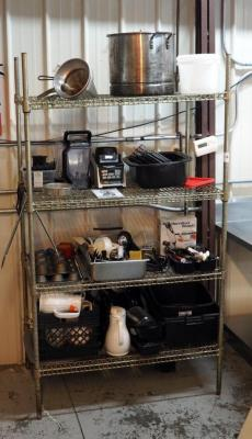 "Stainless Steel Storage Rack 75"" x 42"" x 24"" Includes Contents; Ninja Blender System, Carving Knives, Serving Utensils and More"