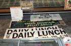 "Vinyl Signage, Qty 4, ""Daily Lunch"", ""Green Mountain Pellet Grills"", ""Deer Processing"" and More"
